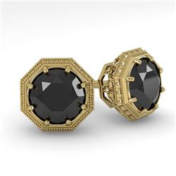 1.0 CTW Black Diamond Stud Solitaire Earrings 18K Yellow Gold - REF-52A5X - 35956