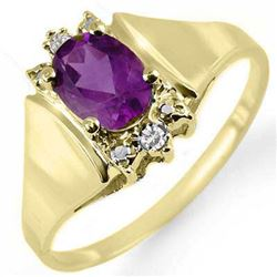 0.78 CTW Amethyst & Diamond Ring 10K Yellow Gold - REF-14N4Y - 12865