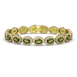 21.71 CTW Tourmaline & Diamond Halo Bracelet 10K Yellow Gold - REF-338T9M - 40624