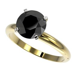 2.59 CTW Fancy Black VS Diamond Solitaire Engagement Ring 10K Yellow Gold - REF-64K8W - 36457