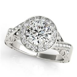 1.75 CTW Certified VS/SI Diamond Solitaire Halo Ring 18K White Gold - REF-623F2N - 27057