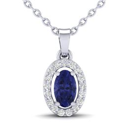 0.36 CTW Tanzanite & Micro Pave VS/SI Diamond Necklace Halo 18K White Gold - REF-32T2M - 21330