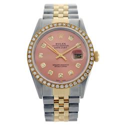 Rolex Men's Two Tone 14K Gold/SS, QuickSet, Diamond Dial & Diamond Bezel - REF-557Y3X