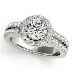 0.85 CTW Certified VS/SI Diamond Solitaire Halo Ring 18K White Gold - REF-155F5N - 26733