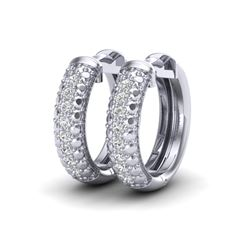 0.15 CTW Micro Pave Hoop VS/SI Diamond Earrings 10K White Gold - REF-26M2H - 22484