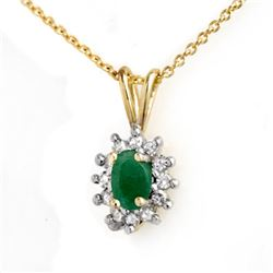 0.51 CTW Emerald & Diamond Pendant 10K Yellow Gold - REF-13T6M - 12617