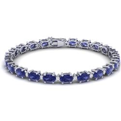 26.3 CTW Tanzanite & VS/SI Certified Diamond Eternity Bracelet 10K White Gold - REF-345N5Y - 29463
