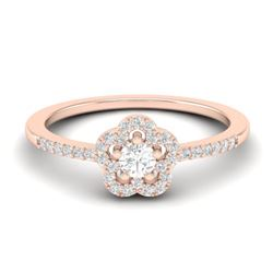 0.35 CTW Micro Pave VS/SI Diamond Ring Moon Halo In 10K Rose Gold - REF-27H5A - 21413