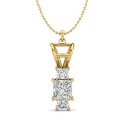 1.54 CTW Princess VS/SI Diamond Solitaire Art Deco Necklace 18K Yellow Gold - REF-418W2F - 37204