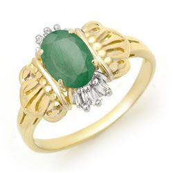 0.81 CTW Emerald & Diamond Ring 10K Yellow Gold - REF-18H2A - 12430