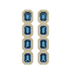 12.02 CTW London Topaz & Diamond Halo Earrings 10K Yellow Gold - REF-152N2Y - 41464