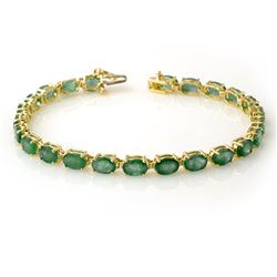 14.0 CTW Emerald Bracelet 10K Yellow Gold - REF-105Y5K - 13447