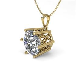 1 CTW VS/SI Diamond Solitaire Necklace 18K Yellow Gold - REF-274K6W - 35863