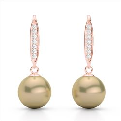 0.18 CTW Micro Pave VS/SI Diamond & Golden Pearl Designer Earrings 14K Rose Gold - REF-30H9A - 22633