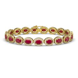 15.2 CTW Ruby & Diamond Halo Bracelet 10K Yellow Gold - REF-255T3M - 40456