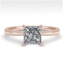 1.01 CTW Princess Cut VS/SI Diamond Engagement Designer Ring 18K Rose Gold - REF-285N2Y - 32417