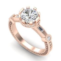 1.71 CTW VS/SI Diamond Solitaire Art Deco Ring 18K Rose Gold - REF-536X4T - 37062