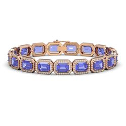25.36 CTW Tanzanite & Diamond Halo Bracelet 10K Rose Gold - REF-606Y8K - 41388