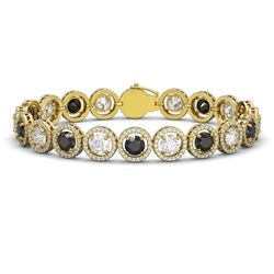 15.47 CTW Black & White Diamond Designer Bracelet 18K Yellow Gold - REF-1561K8W - 42700