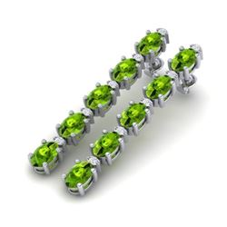 10.36 CTW Peridot & VS/SI Certified Diamond Earrings 10K White Gold - REF-65X8T - 29401