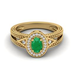 0.83 CTW Emerald & VS/SI Diamond Solitaire Halo Fashion Ring 10K Yellow Gold - REF-25Y8K - 20837