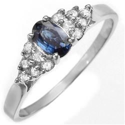 0.74 CTW Blue Sapphire & Diamond Ring 14K White Gold - REF-28K8W - 10011