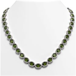 49.46 CTW Tourmaline & Diamond Halo Necklace 10K White Gold - REF-763X6T - 40574