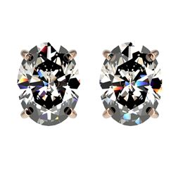 2.50 CTW Certified VS/SI Quality Oval Diamond Stud Earrings 10K Rose Gold - REF-840A2X - 33112