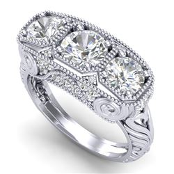 2.51 CTW VS/SI Diamond Solitaire Art Deco 3 Stone Ring 18K White Gold - REF-436F4N - 36989