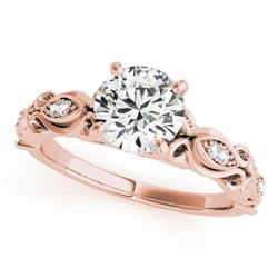0.6 CTW Certified VS/SI Diamond Solitaire Antique Ring 18K Rose Gold - REF-126X8T - 27268