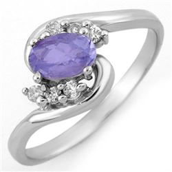 0.60 CTW Tanzanite & Diamond Ring 14K White Gold - REF-22T5M - 10174