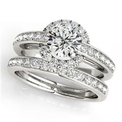 1.61 CTW Certified VS/SI Diamond 2Pc Wedding Set Solitaire Halo 14K White Gold - REF-241M6H - 31088