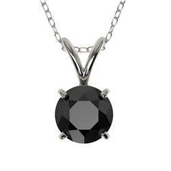 0.75 CTW Fancy Black VS Diamond Solitaire Necklace 10K White Gold - REF-20F5N - 33175