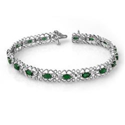 4.02 CTW Emerald & Diamond Bracelet 14K White Gold - REF-86Y9K - 14506