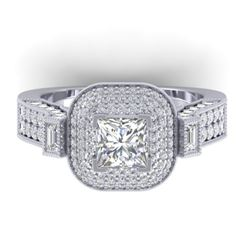 2.85 CTW Princess VS/SI Diamond Art Deco Micro Halo Ring 14K White Gold - REF-555X5T - 30444