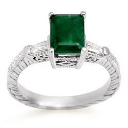 2.45 CTW Emerald & Diamond Ring 14K White Gold - REF-63M8H - 11009