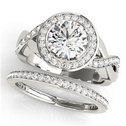 2.09 CTW Certified VS/SI Diamond 2Pc Wedding Set Solitaire Halo 14K White Gold - REF-420A2X - 30642