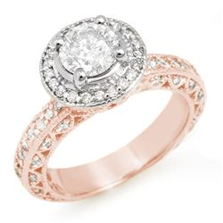 2.0 CTW Certified VS/SI Diamond Ring 14K Rose Gold - REF-396F8N - 11363