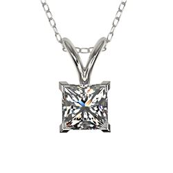 0.50 CTW Certified VS/SI Quality Princess Diamond Necklace 10K White Gold - REF-79Y5K - 33166