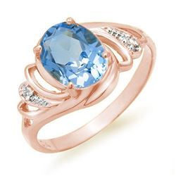 2.53 CTW Blue Topaz & Diamond Ring 18K White Gold - REF-32M9H - 12668