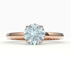 2 CTW Aquamarine Designer Inspired Solitaire Engagement Ring 14K Rose Gold - REF-33N6Y - 22211