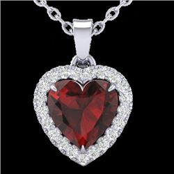 1 CTW Garnet & Micro Pave VS/SI Diamond Heart Necklace Halo 14K White Gold - REF-28M4H - 21339