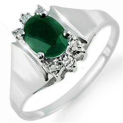 1.10 CTW Emerald & Diamond Ring 10K White Gold - REF-19T8M - 14210