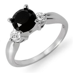 1.65 CTW VS Certified Black & White Diamond Solitaire Ring 14K White Gold - REF-65W3F - 11805