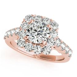 1.5 CTW Certified VS/SI Diamond Solitaire Halo Ring 18K Rose Gold - REF-161A8X - 26207