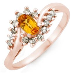 0.55 CTW Yellow Sapphire & Diamond Ring 14K Rose Gold - REF-29F8N - 10275