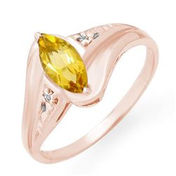 0.36 CTW Citrine & Diamond Ring 10K Rose Gold - REF-13F6N - 12289