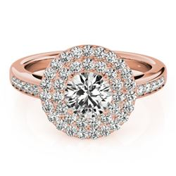 0.85 CTW Certified VS/SI Diamond Solitaire Halo Ring 18K Rose Gold - REF-104F2N - 26456