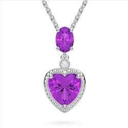 4 CTW Amethyst & VS/SI Diamond Designer Heart Necklace 10K White Gold - REF-26N2Y - 22517