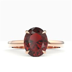 3.50 CTW Garnet Designer Inspired Solitaire Ring 14K Rose Gold - REF-24F5N - 22062